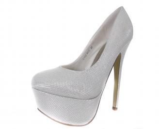 Дамски обувки еко кожа сребристо бели IUMX-18207