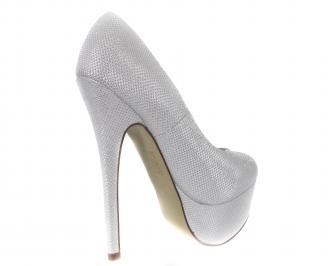 Дамски обувки еко кожа сребристо бели 3
