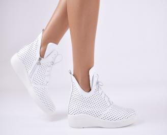 Дамски  обувки  естествена кожа бели AHLE-1011052