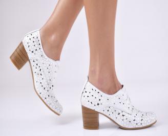 Дамски  обувки естествена кожа бели KYFK-1011057