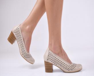 Дамски  обувки естествена кожа бежови UBHL-1011065