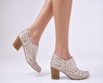 Дамски  обувки естествена кожа бежови LAQG-1011067