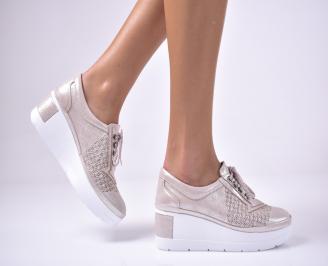 Дамски  обувки естествена кожа бежови NGDE-1011306