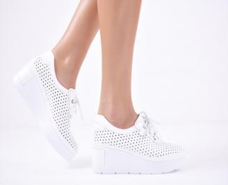 Дамски  обувки естествена кожа бели JXBQ-1011309