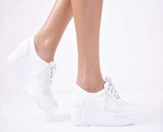 Дамски  обувки естествена кожа бели LBHH-1011313