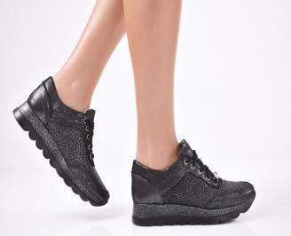 Дамски  обувки естествена кожа черни QAFM-1011315