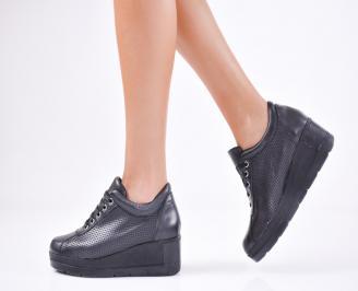Дамски  обувки естествена кожа черни RHOW-1011567