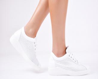 Дамски  обувки естествена кожа бели EMCL-1011573