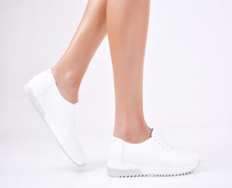 Дамски  обувки естествена кожа бели FZKL-1011575
