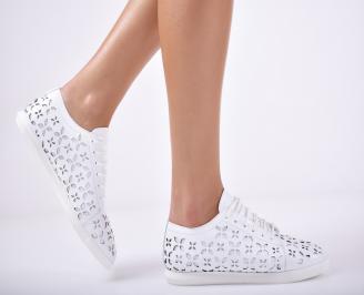 Дамски  обувки естествена кожа бели EISE-1011685
