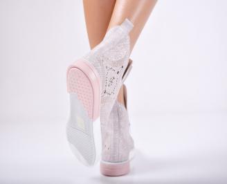 Дамски  обувки естествена кожа  пудра SMLB-1011733