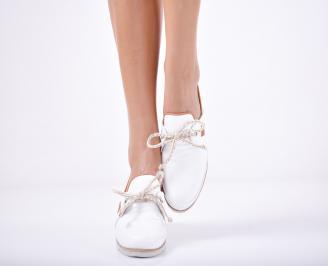 Дамски  обувки естествена кожа бели XRFL-1011748