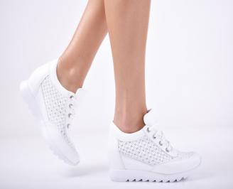 Дамски  обувки естествена кожа бели IVAJ-1011759
