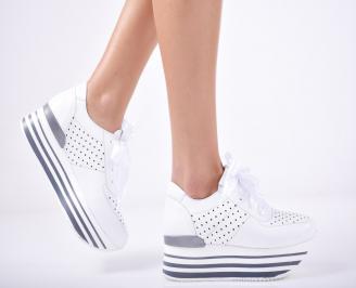 Дамски  обувки естествена кожа бели TMNQ-1011762