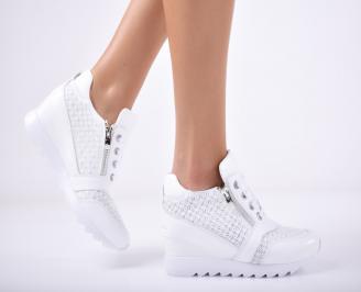 Дамски  обувки естествена кожа бели NQTX-1011840