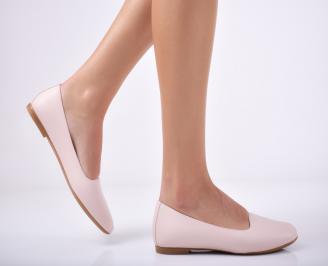 Дамски  обувки естествена кожа пудра QGCZ-1011847