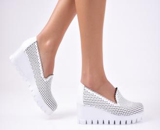 Дамски  обувки естествена кожа бели NGBO-1012330
