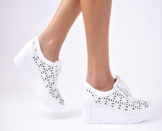 Дамски  обувки естествена кожа бели ZPPZ-1012339