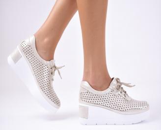 Дамски  обувки естествена кожа бежови TCUE-1012340
