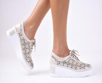 Дамски  обувки естествена кожа бежови UWAV-1012343