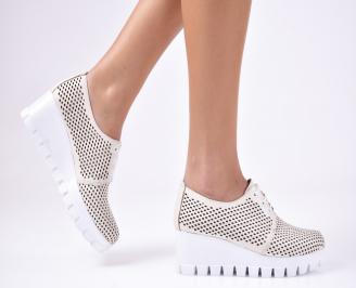 Дамски  обувки естествена кожа бежови VRQR-1012348