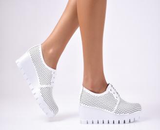 Дамски  обувки естествена кожа бели OUAN-1012472