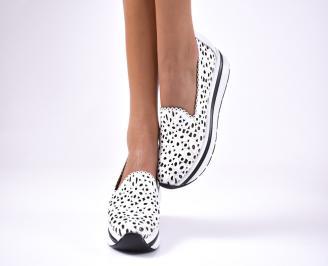 Дамски  обувки естествена кожа бели IDCK-1012595