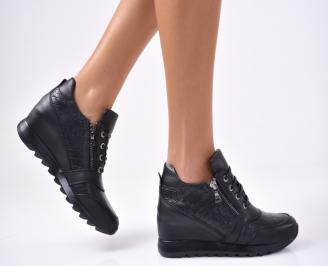 Дамски обувки  естествена кожа черни BKWH-1012823