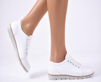 Дамски  обувки естествена кожа бели HHQI-1012824