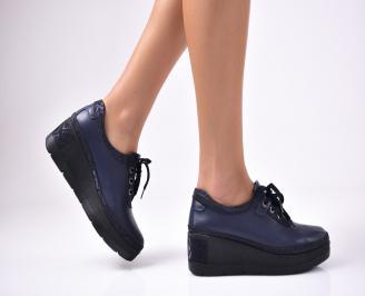 Дамски  обувки естествена кожа сини GAVG-1012857