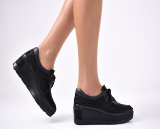 Дамски  обувки естествена кожа черни QRUG-1012861