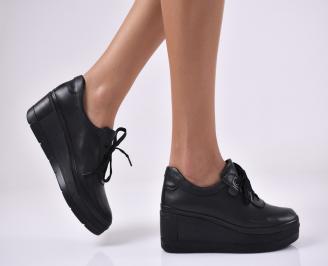 Дамски  обувки естествена кожа черни. QWAN-1014063