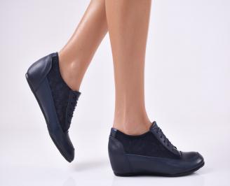 Дамски обувки естествена кожа тъмно сини PNHG-22448