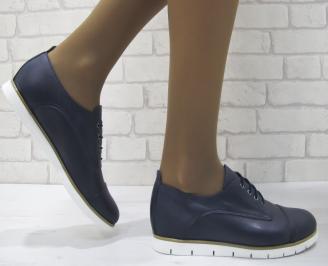 Дамски обувки естествена кожа тъмно сини YOMZ-23127