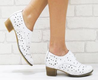 Дамски обувки естествена кожа бели BAMC-23130