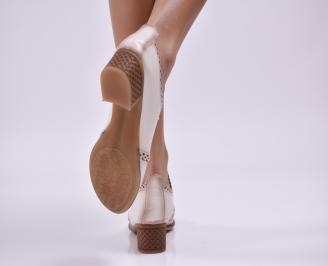 Дамски обувки естествена кожа бежови YEWY-23159