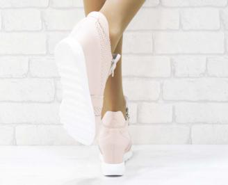 Дамски  обувки   естествена кожа пудра YHJC-25199