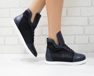 Дамски обувки  естествена кожа сини ILKE-26176