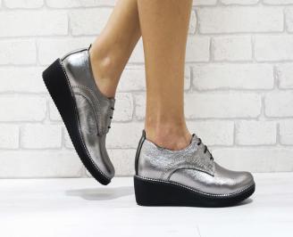 Дамски обувки  естествена кожа сребристи JJYV-26239
