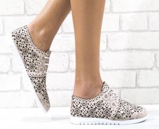 Дамски обувки естествена кожа пудра VMSX-26489