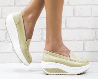 Дамски обувки естествена кожа бежови TLJI-26511