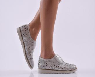 Дамски обувки  естествена кожа сребристи GEPB-26810