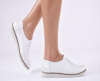 Дамски обувки  естествена кожа сребристи IPQC-26811