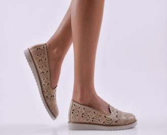 Дамски обувки естествена кожа бежови DSLL-26812