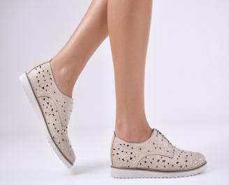 Дамски обувки естествена кожа бежови UXZN-26814