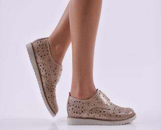 Дамски обувки естествена кожа пудра PCKH-26816