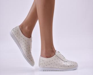 Дамски обувки естествена кожа бежови OPIY-26864