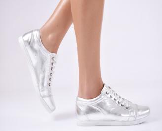 Дамски обувки естествена кожа/лак сребристи KMQU-13227