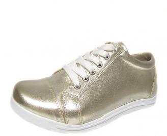 Дамски обувки естествена кожа/лак златисти DMKA-13228