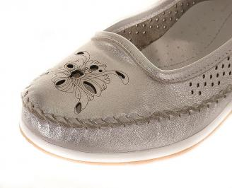 Дамски обувки естествена кожа сребристи SFPE-16141